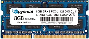 ROYEMAI 8GB DDR3 RAM, DDR3 1600 8GB PC3L-12800S DDR3L Sodimm 2Rx8 1.35V/1.5V CL11 Notebook RAM Memory for Laptop Computer