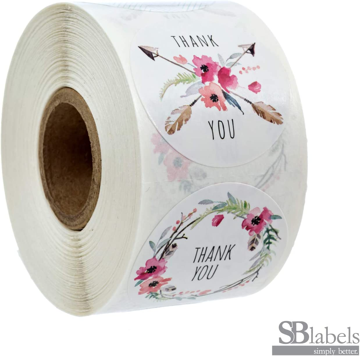 """SBLABELS 1.5"""" Boho Chic Thank You Stickers / 6 Different Design Thank You Designs/ 500 Thank You Stickers Per Roll"""