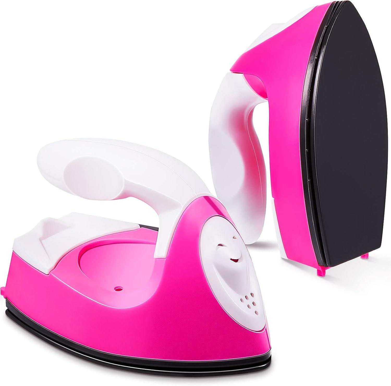 Mini Heat Press Machine Mini Iron Press Mini Heat Press Portable Handy Heat Press Mini Iron with Charging Base Accessories for Clothes DIY T-Shirts Shoes Hats Heat Transfer Vinyl Projects (Pink)