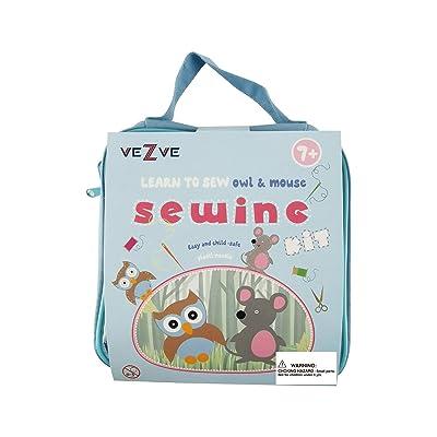 veZve Kids Beginner Sewing Kit DIY Starting Owl Mouse Crafting Set for Boys Girls: Toys & Games