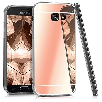 kwmobile Funda para Samsung Galaxy A5 (2017) - Carcasa Protectora Trasera de TPU para móvil en Oro Rosa con Efecto Espejo