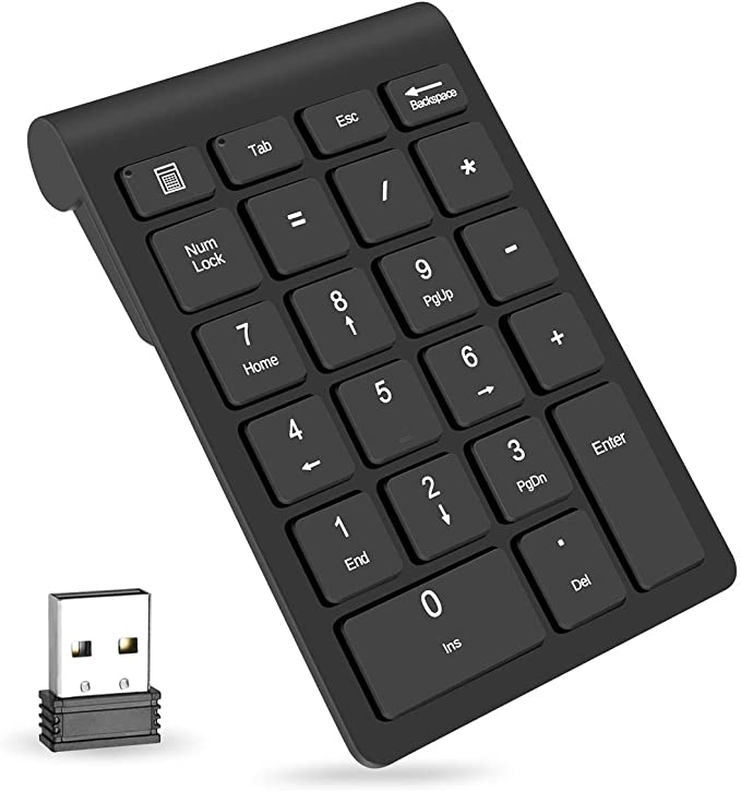Wireless Number Pads, Numeric Keypad Numpad 22 Keys Portable 2.4 GHz Financial Accounting Number Keyboard Extensions 10 Key for Laptop, PC, Desktop, Surface Pro, Notebook