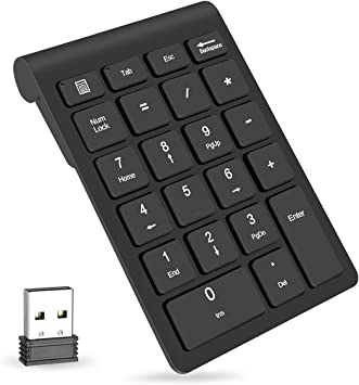 Surface Pro Notebook Wireless Numeric Keypad,Portable Slim Mini 2.4GHz 22-Key with Rechargeable Numerical keypad,USB Receiver for PC,Laptop,Desktop Black