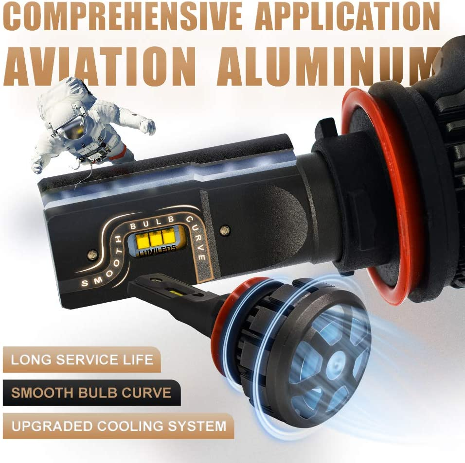 Prime Zes LED chips HIKARI Ultra H7 LED Bulbs Conversion Kit Halogen Replacement 6K Cool White Foglight