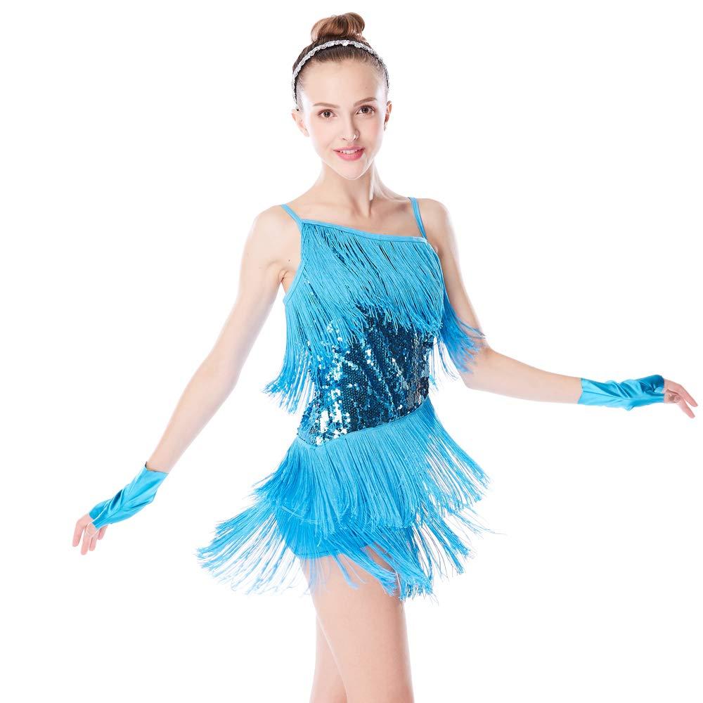 Bleu ciel MiDee Hemdchen, ou So CE Paillette besetzte asymétriques Pompon Rock Danse Latin Robe pour Femme SA