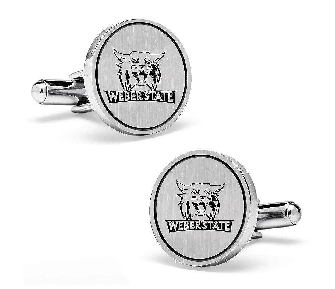 Weber State Wildcats Cufflinks Sterling Silver Medium Size Round Top