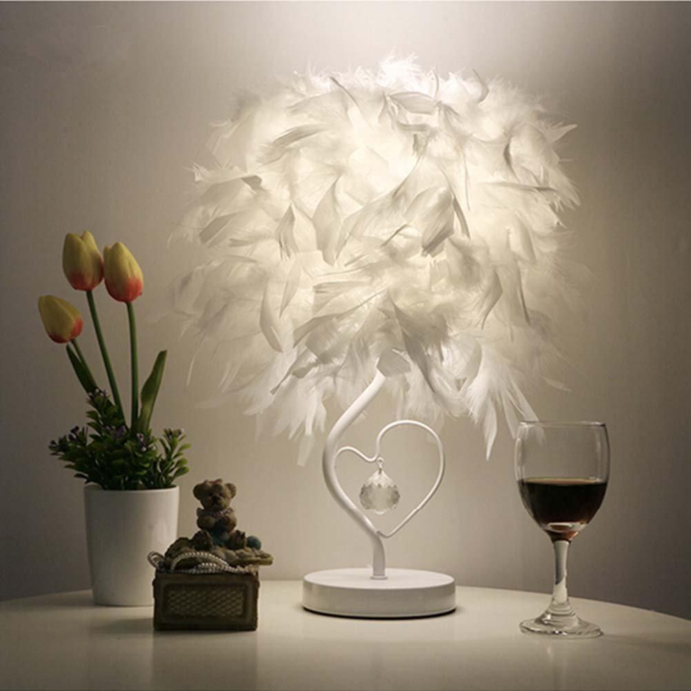 OULII Lámpara de mesa con el enchufe de la UE lectura cabecera sala sala de estar corazón forma pluma cristal, regalo de Navidad