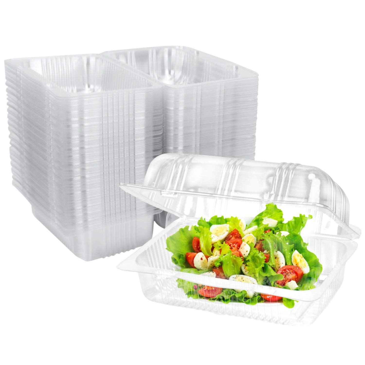 Clear Plastic Hinged Food Container 100 PCS, 6.7