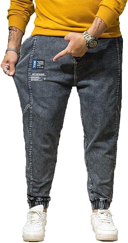 メンズジーンズパンツプラスサイズストレッチルーズテーパーハーレムジーンズコットン デニムジーンズバギーパンツジョガーカジュアル,a,3XL