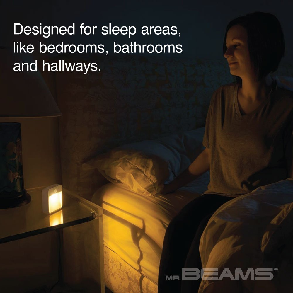 Mr. Beams MB720A Sleep Friendly Battery-Powered Motion-Sensing LED Stick-Anywhere Nightlight with Amber Color Light (3-Pack), White by Mr. Beams (Image #5)