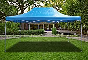New Sky Blue Deluxe EZ up Canopy Pop Up Tent 15' X 10' Gazebo Sun Shade