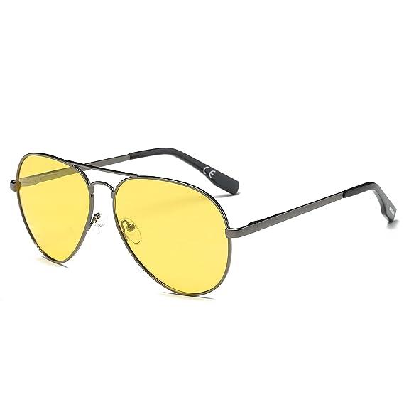 AMZTM Noche Conducción Clásico Moda Polarizadas Aviador Gafas De Sol De Mujer Y Hombre Puente Doble Metal Montura Amarillo Lentes: Amazon.es: Ropa y ...