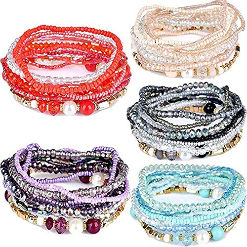 yunanwa 5 Pack (50pcs) Multilayer Bohemian Beaded Bangle Bracelet Crystal Charm Stretch Beach 10 PCS/Pack Set Boho Jewelry for Women Men Link Wrist Chain -
