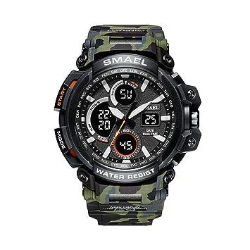 WULIFANG Los Hombres De Camuflaje Militar Deportivo Reloj Cronógrafo Alarma Fecha De Retroiluminación Led Impermeable Reloj Digital Ejército Verde: ...