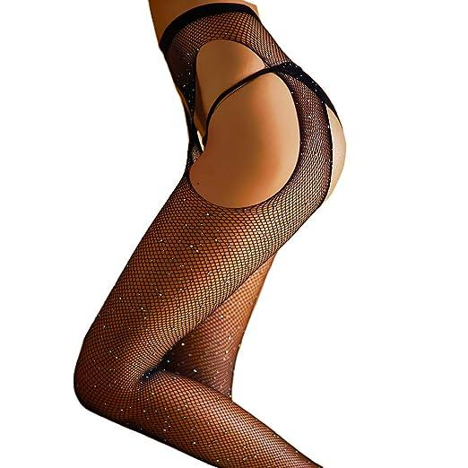 06f65c4b9 FANCAME Sexy Fishnet Stockings Women s High Waist Sparkle Rhinestone Tight  Pantyhose (Crotchless Fishnet Stockings) at Amazon Women s Clothing store