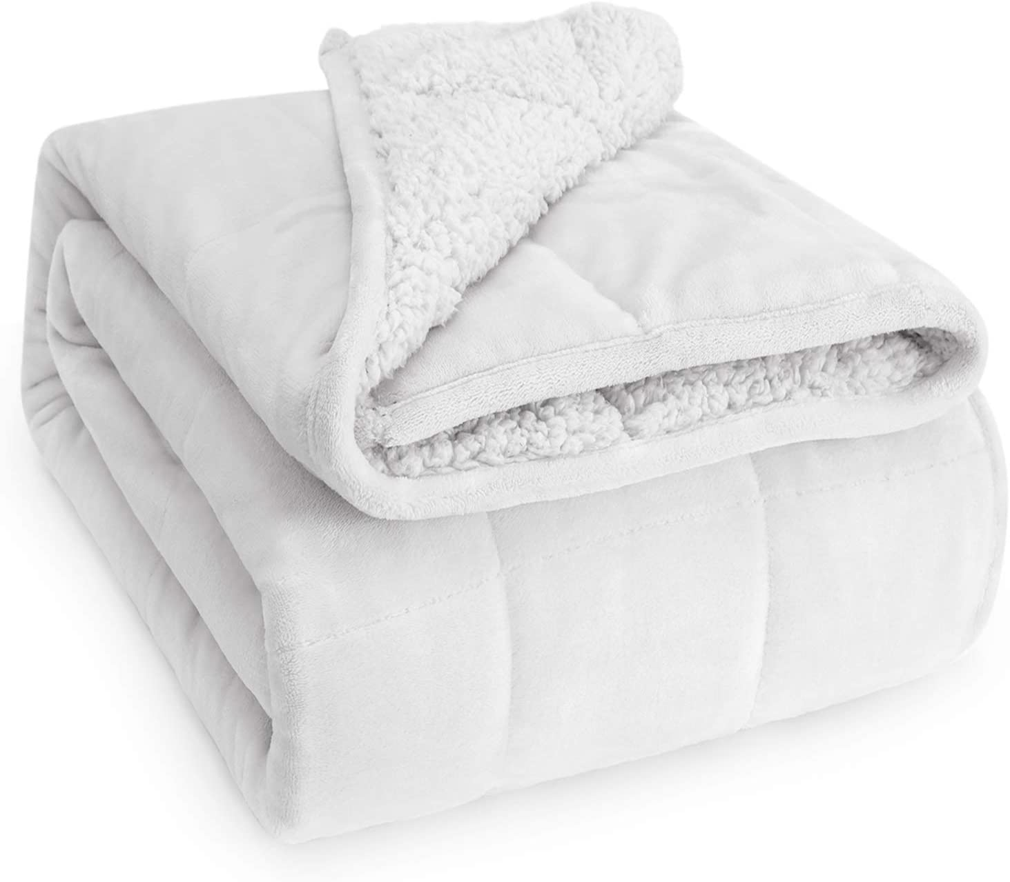 Sivio Sherpa Fleece Weighted Blanket for Adult, 15lbs Heavy Fuzzy Throw Blanket with Soft Plush Flannel, Reversible Twin-Size Super Soft Extra Warm Cozy Fluffy Blanket, 48x72 Inch Dual Sided White