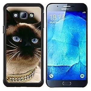 KLONGSHOP // Cubierta de piel con cierre a presión Shell trasero duro de goma Protección Caso - Gato siamés Oro Blue Eyes Birman - Samsung Galaxy A8 A8000 //