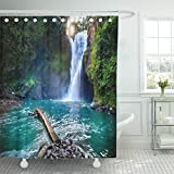 Emvency Shower Curtain Polyester Print 72x78 Inches Tegenungan Waterfall It Is One of Places Interest Bali Secret Jungle Indonesia Bathroom