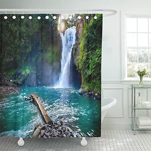 Emvency Shower Curtain Polyester Print 72x78 Inches Tegenungan Waterfall It Is One of Places Interest Bali Secret Jungle Indonesia Bathroom by Emvency