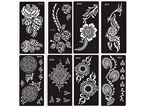 mehandi alimentador Plantillas de Juego a 8Sheets Henna y flores diseño también para Glitter Tattoo y Air Brush Tattoo Adecuado Beyond Set A