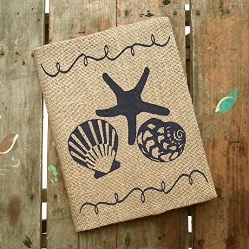 "Beach Memories - Burlap Journal Cover - Composition Notebook Included - 9.75"" x 7.5"" - Seashell and Starfish Notebook"