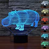 3D Illusion Night Light Animal Hippo Night Light 7 Color Change LED Table Desk Lamp Acrylic Flat ABS Base USB Charger Home Decoration Toy Brithday Xmas Kid Children Gift