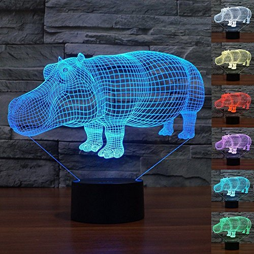 3D Illusion Night Light Animal Hippo Night Light 7 Color Change LED Table Desk Lamp Acrylic Flat ABS Base USB Charger Home Decoration Toy Brithday Xmas Kid Children Gift by FXUS