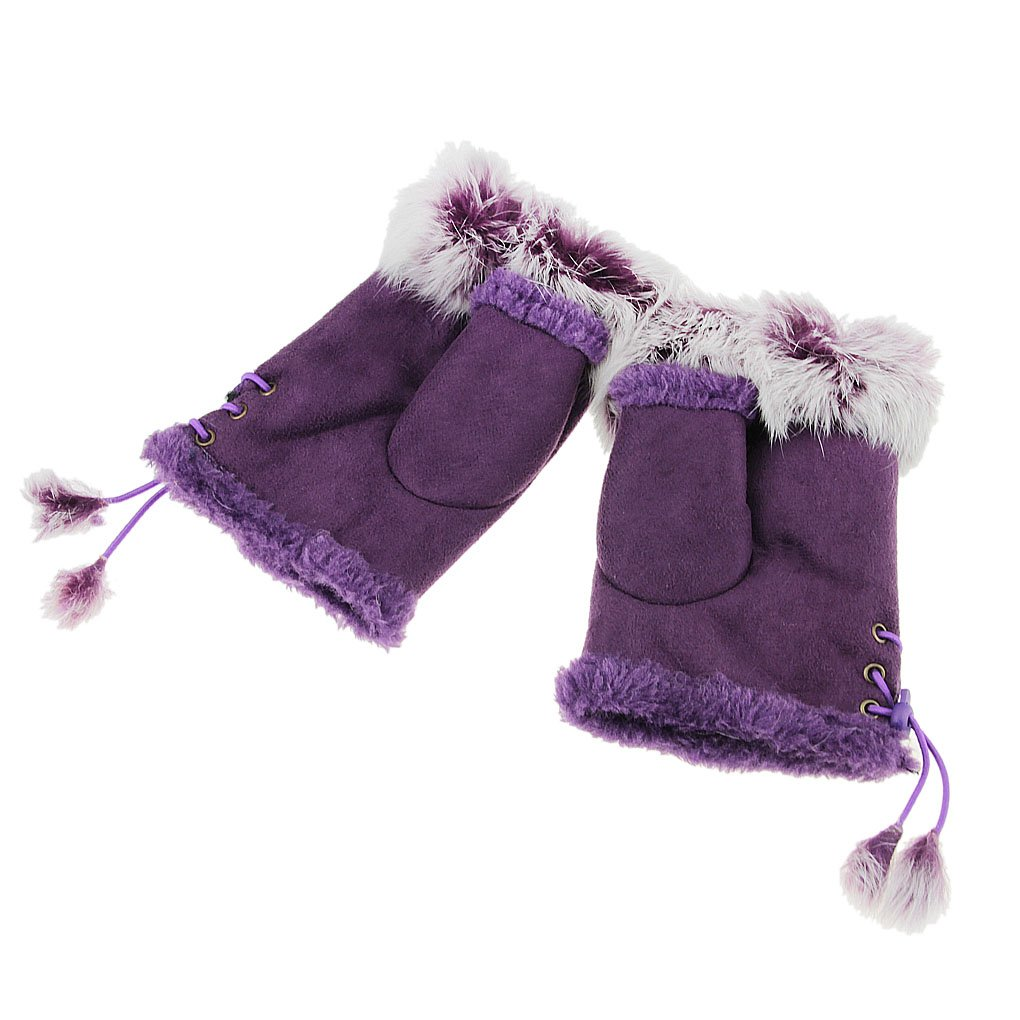 Women Fingerless Gloves Girls Winter Mitten Thick Suede Mittens with Elastic String Fluffy Embellish Warm Soft Half Finger Adjustable Gloves Texting Hand Wrist Wear for Cycling//Ski Outdoor Sport