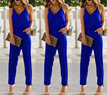 swall owuk Jumpsuit Mujer Elegante Verano Overalls Mujeres Sling ...