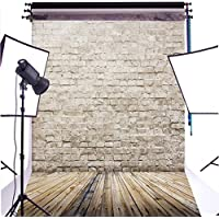 DULUDA 6X9FT Rice White Brick Wall Wooden Floor Seamless Pictorial cloth Customized photography Backdrop Background studio prop GMTX04B