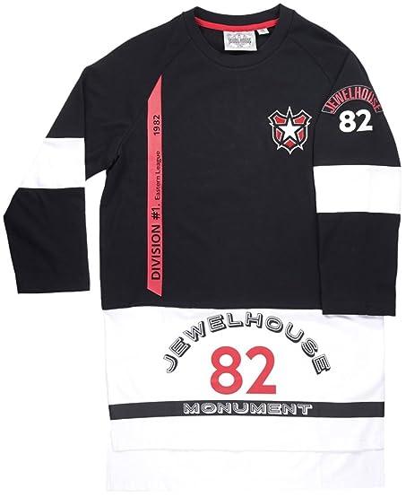 Jewel House 3/4 Length Sleeve Elongated Shirt Black