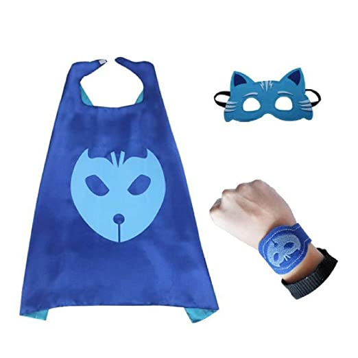 Bek Brands PJ Masks Catboy with Felt Bracelet Superhero Cape and Mask Set | Dress up
