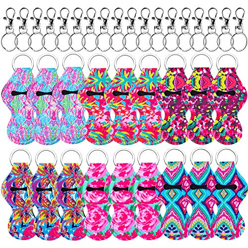 Duufin 18 Pieces Chapstick Holder Keychains compatible with 18 Pieces Metal Clip Cords