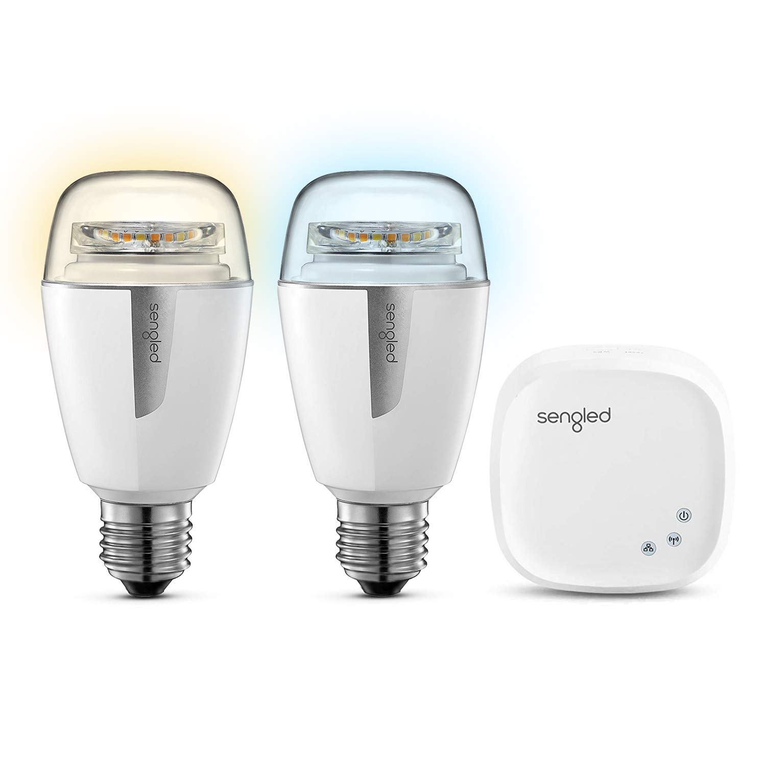Sengled Element Smart LED Lampe, E27, dimmbar, warm-kaltweiß 2700-6500K, Starter Set (2 A60 Lampen und 1 Hub), steuerbar via App, kompatibel mit Amazon Alexa und Google Assistant, 9,8W