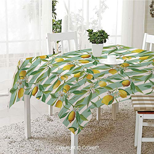 (SCOXIXI Spillproof Tablecloth,Blooming Lemon Tree on Striped Paintbrush Background Evergreen Art,Table Cloth for Kitchen Dinning Tabletop Decoration(60.23