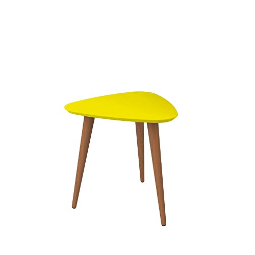 Manhattan Comfort Utopia High Triangle End Table, Yellow