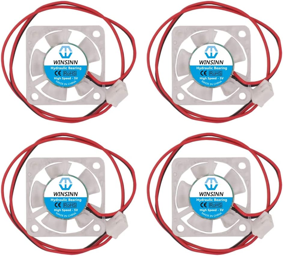 WINSINN 30mm Color LED Fan 5V Hydraulic Bearing Brushless 3010 30x10mm - High Speed (Pack of 4Pcs)