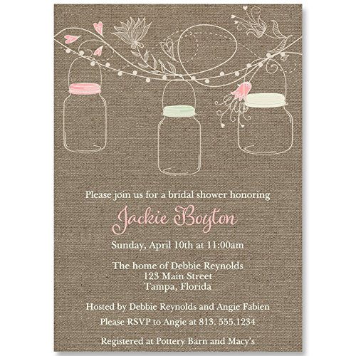 Burlap Bridal Shower Invitations, Mason Jars, Country, Wedding Shower, Pink, Blush, Mint, Chic, Rustic, Personalized, Customized, 10 Custom Printed Invites with Envelopes, Hanging Mason Jars