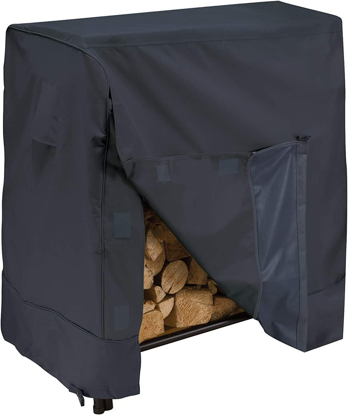 Qeedio Firewood Log Rack Cover 4-Feet Heavy Duty Waterproof Outdoor Fire Wood Protection Cover UV Resistant Firewood Log Protector with Carry Bag