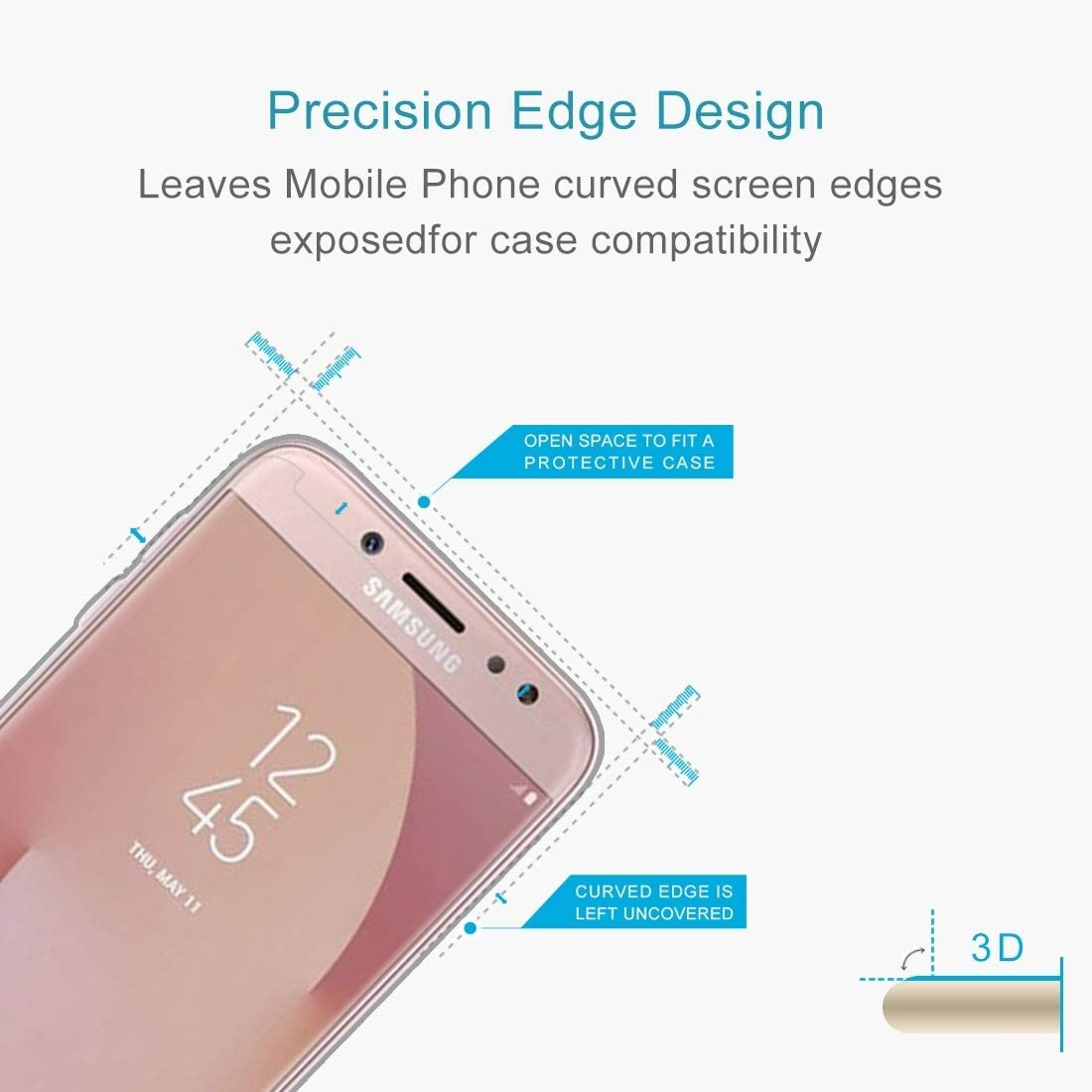 2017 No Retail Package US Version 0.3mm 9H Surface Hardness 2.5D Explosion-Proof Non-Full Screen Tempered Glass Screen Film ScreenProtector YHM 50 PCS for Galaxy J7
