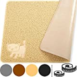 "Smiling Paws Pets Jumbo Cat Litter Mat, 47"" x 33"", Non-Slip & Non Toxic Rug, Easy to Clean Kitty Litter Catcher with Scatter Control (XXL Beige)"