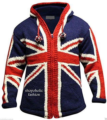 Capuche Shopoholic Fashion Rançonné À Union Jack Hommes Laine Veste 18qr1CwOn
