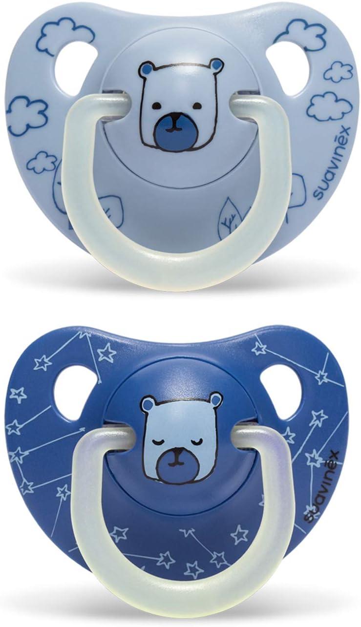 Suavinex - Pack 2 chupetes Nocturnos para bebés 6-18 meses. con anilla Luminiscente. Tetina anatómica de látex. Chupete de noche brilla en la oscuridad, color azul diseño oso
