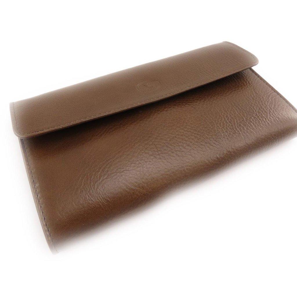 checkbook holder leather Frandi brown black york // crocodile Wallet .