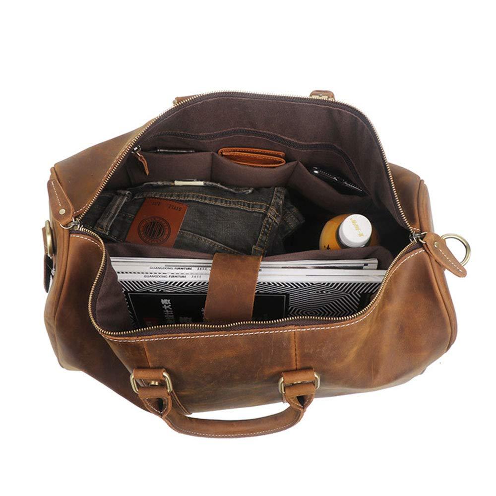Color : Brown Yangjiaxuan Leather Mens Bag Handmade Leather Travel Bag Crazy Horse Leather Portable Large Bag