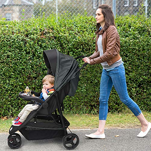 61oGgcZAnOL - Meinkind Baby Stroller, Foldable Jogger Stroller Lightweight Baby Strollers 3-Wheels Running Stroller Travel Stroller With Canopy, Snack Tray, 5-Point Safety Belt, Storage Basket, Up To 33lbs Toddler