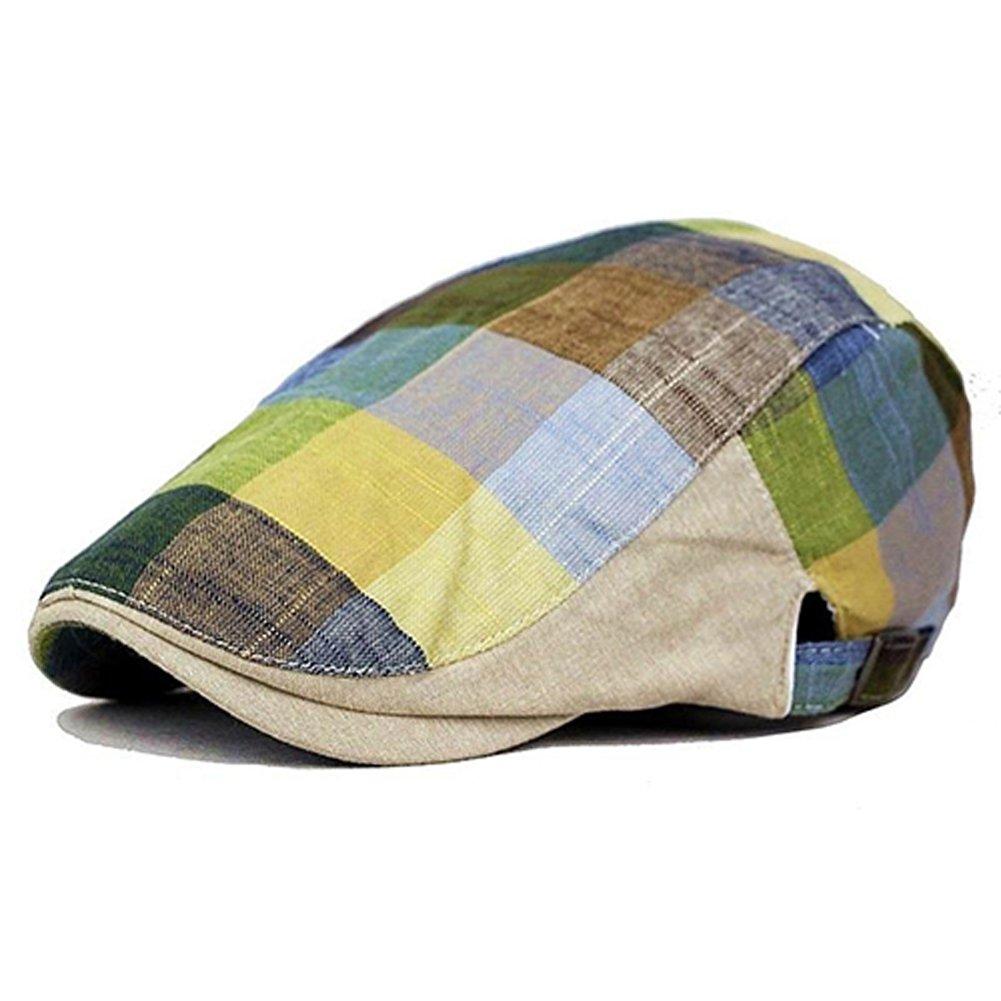 37b51202a9fdc Amazon.com  Academyus Unisex Grid Cap Outdoor Golf Driving Flat Beret  Peaked Casual Sun Visor Hats  Clothing