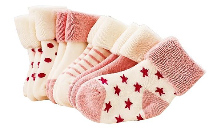 Reizbaby Bebé Suave Grueso Calcetines Calentar Algodón Terry Calcetines en Otoño Invierno 5 piezas (Rosa