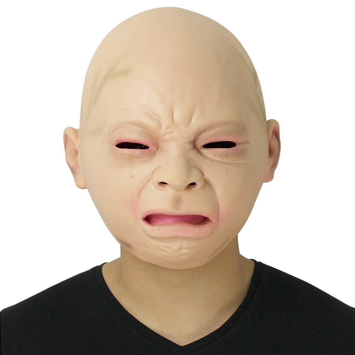 Cusfull Novedad de Látex de Caucho Grito Espeluznante Bebé Cara Cabeza Máscara Halloween Navidad Traje Fiesta Decoraciones Accesorios Adultos: Amazon.es: ...