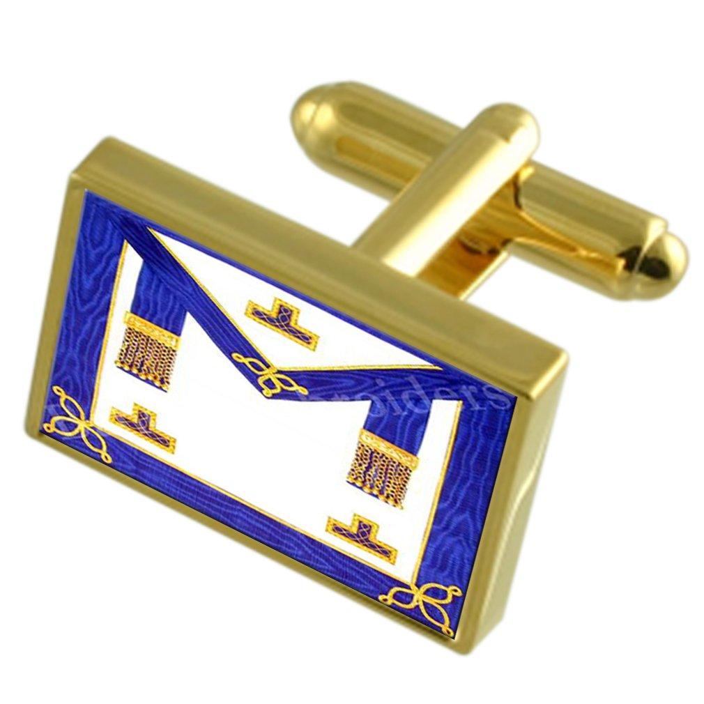 Masonic クラフト地方学区のレガリアエプロンゴールドトーン Cufflinks 刻まれたメッセージボックス   B0711G8D22
